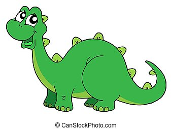 Cute dinosaur - Cute green dinosaur - isolated illustration.