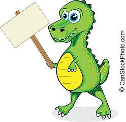 cute dinosaur t-rex holding wood si - vector illustration of...