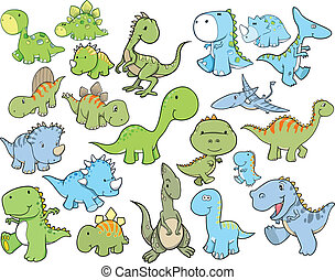 Cute Dinosaur Vector Set - Cute Dinosaur Vector Illustration...