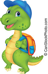 Cute dinosaur with backpack - vector illustration of Cute...