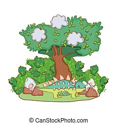 cute dinosaur with eggs in the landscape