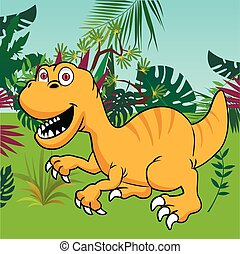 Cute dinosaur with tropical forest background