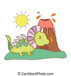 cute dinosaur with volcano landscape
