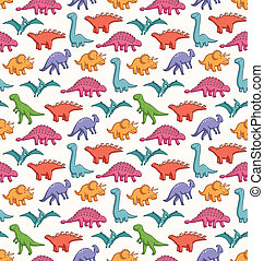 Cute dinosaurs seamless vector pattern