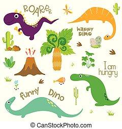 Cute dinosaurs set