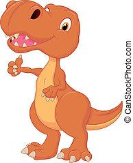 cute, dinossauro, caricatura, dar, polegar