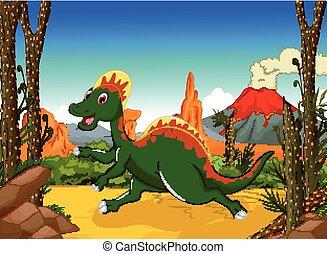 cute, dinossauro, caricatura, em, a, selva