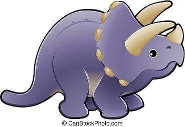 cute, dinossauro, triceratops, ilustração