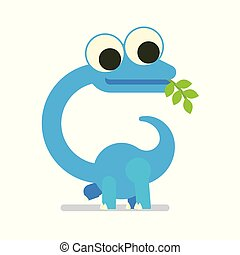 Cute Diplodocus walking. Dinosaur life. Vector illustration of prehistoric character in flat cartoon style isolated on white background. Funny blue Brontosaurus with big eyes. Element for design.
