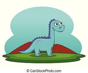 cute diplodocus wild dinosaur with mountains