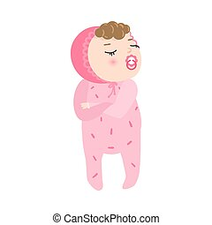 Cute displeased baby with kinky hair standing in pink pajama. Vector illustration in flat cartoon style.