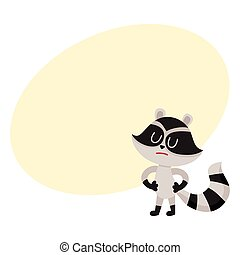 Cute displeased, sad raccoon character showing negative emotion