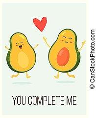 cute, dizendo, cartaz, par, abacate, luminoso