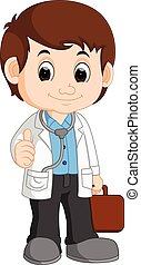 Cute boy doctor . Vector illustration of a cute boy doctor ...