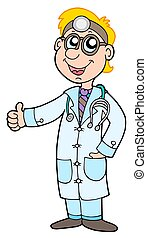 Cute doctor on white background - isolated illustration.