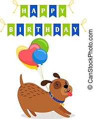 Cute dog and balloons birthday card