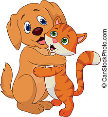 Vector illustration of Cute dog and cat cartoon embracing each other