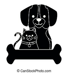cute dog and cat with bone characters