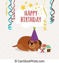 Cute dog and cupcakes birthday card