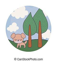 cute dog animal in landscape scene