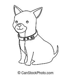 cute dog animal line style icon