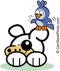 Cute Dog Bird Cartoon Clip Art