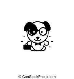 Cute Dog businessman vector illustration, Baby Puppy logo, new design art, Pet Black color sign, simple image, picture with animal and bag and glasses.