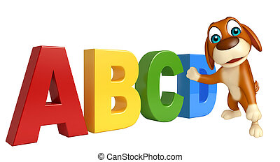 cute Dog cartoon character with ABCD sign - 3d rendered ...