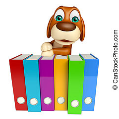 cute Dog cartoon character  with files