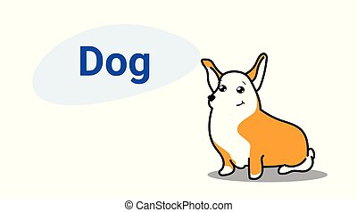 cute dog cartoon comic character with smiling face kawaii hand drawn style funny animals for kids concept horizontal