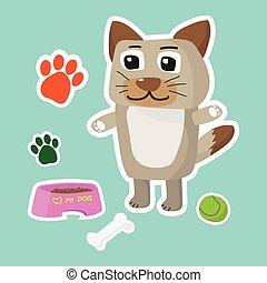 Cute dog cartoon sticker set on blue background