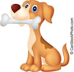 Cute dog cartoon with bone
