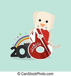 Cute Dog Celebrating 2018