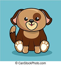 cute dog character kawaii style