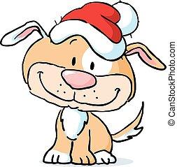 cute dog character with santa cap - vector illustration