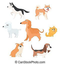 Cute dog characters of various breeds, big and small