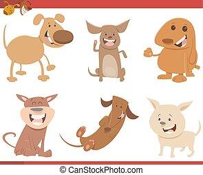 cute dog characters set