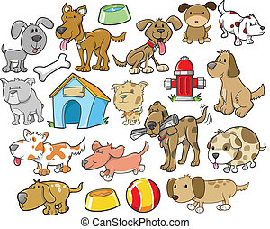 Cute Dog Design Elements Vector Set - Cute Dog Design...