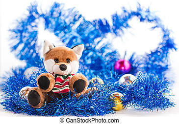 cute dog doll with Christmas decoration