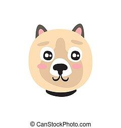Cute dog face, funny cartoon animal character, adorable domestic pet vector illustration