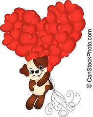 Cute dog flying with heart balloons