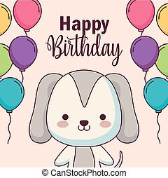cute dog happy birthday card with balloons helium