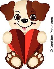 Cute dog holding a heart