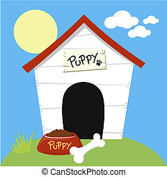 cute dog house with dog food bowl and bone