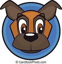 Cute Dog Icon in Circle