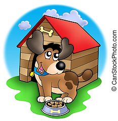 Cute dog in front of kennel - color illustration.