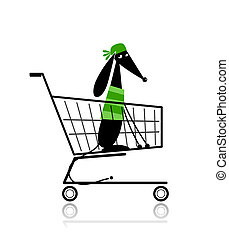 Cute dog  in shopping cart for your design