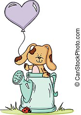 Cute dog in watering can with balloon