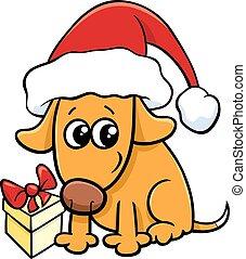 cute dog on Christmas cartoon