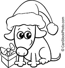 cute dog on Christmas coloring book